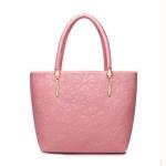 กระเป๋าหนังสีชมพูสวยหวาน เป็นทรงTote bag