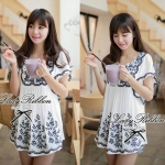 DR-LR-060 Chill Out Floral Bunch Embroidery Mini dress