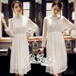 Sweet lace dress with long sleeves by Aris Code A251-755604