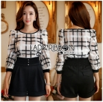 Lady Kim Smart Casual Check Embroidered Playsuit L272-7504
