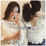 Lady Stephanie Little Sunshine White and Yellow Floral Cropped Top L258-6914