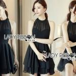 Chiara Sexy Elegant Layered Black Chiffon Dress