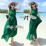 Lady Elsa Bead Embellished Emerald Maxi Dress with Back Slits L227-79C03