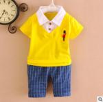 [ไซส์ 100 120 130 ] ชุดเสื้อผ้าเด็กแฟชั่นนำเข้า สีเหลือง