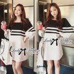 DR-LR-054 Lady Pippa Minimal Casual Striped Dress