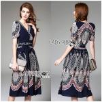 Lady Sasha Classy Smart Printed Midi Dress with Ribbon Belt L275-7906