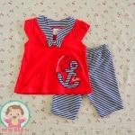 ไซส์ 6-9 เดือน ชุดเสื้อผ้าเด็กผู้หญิง สีแดง