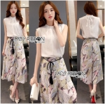 Lady Lindsay High-Neck Cotton Top and Printed Viscose Culottes Set