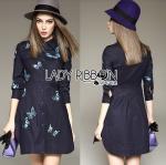 Lady Grace Sweet Feminine Butterfly Embroidered Denim Shirt Dress L275-8512