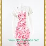 1960ชุดเดรสทำงาน เสื้อผ้าคนอ้วน คอกลมดอกตัดต่อพิ้นดำช่วงบ่าปรับสรีระให้บางและพรางรูปร่างมีซับใน