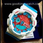 นาฬิกาข้อมือ us submarine 2ระบบ (ดิจิตอล&เข็ม) สีฟ้าขาว สายแวว รุ่น Doraemon กันน้ำ 30 เมตร