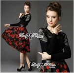 Lady Fiona Insert Lace Black Top and Red Roses Midi Skirt Set