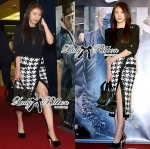 Lady Avril Chiffon Blouse and Pencil Skirt in Houndstooth Print Set