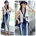 DS-PP-046 Lady Jaime Sleeveless Bow Top and Skinny Striped Pants Set