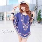 Florally Embroidery Blouse สีกรม C143-49A15