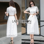 Lady Leslie Modern Feminine Lace Shirt Maxi Dress L275-8507