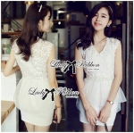 DR-LR-095 Lady Amelia White Classic Lace Peplum Dress
