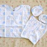 ไซส์ 0-3 เดือน Kerokid ชุดเสื้อผ้าเด็กอ่อน 4 ชิ้น - สีฟ้า
