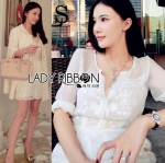 Lady Angelica Pure White Flower Embroidered and Embellished Chiffon Dress L204-79C04