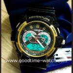 นาฬิกาข้อมือ us submarine 2ระบบ (ดิจิตอล&เข็ม) สีดำทองสายแวว หน้าปัดเฟือง กันน้ำ 30 เมตร งานสวยมาก
