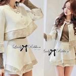 DS-PP-049 Lady Gisele Chic Brocade Jacket and Shorts Set