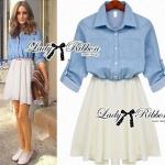 DR-LR-044 Lady Olivia Casual Chic Denim Short Dress