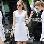 Lady Lucy Minimal Chic Metal Loop Ribbon White Dress L275-7917