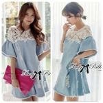 DR-LR-094 Lady Natalie Casual Slouchy Lace and Denim Dress