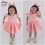 Rabbit Dress ชุดเดรสเด็กสีโอรส แถมฟรีพร้อมคาดผม
