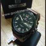 นาฬิกาข้อมือ naviforce เข็ม มีวันและวันที่ สายหนังสีน้ำตาล หน้าดำ เท่ห์มาก กันน้ำ 30 เมตร พร้อมกล่อง