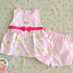 ไซส์ 3-6 เดือน ชุดเสื้อผ้าเด็กผู้หญิง โบว์ชมพู