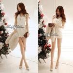 DR-LR-040 Lady Miki Pleats Please Chiffon Dress (สีขาว)