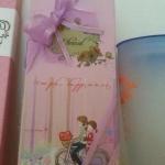 ช้อนส้อมกล่องเด็กคู่สีชมพู