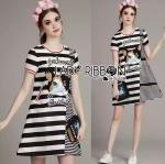 Lady Kara Playful Mixed Striped Kitty Cat Embroidered Dress L275-7513