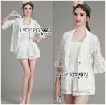 Lady Edita 3-Piece White Jacket and Shorts Set L274-8507