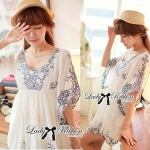 DR-LR-063 Lady Eliza Pretty Embroidered Brocade Kaftan Mini Dress
