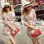 Lady Merry Blooming Print Glittery Mini dress L217-89E01
