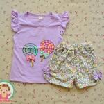 ไซส์ 6 8 10 12 ชุดเสื้อยืด กางเกงขาสั้นเด็กผู้หญิง - สีม่วง