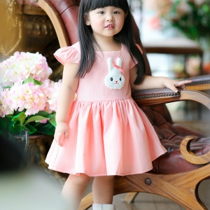 Rabbit Dress ชุดเดรสเด็กสีโอรส แถมฟรีคาดผม