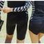 SM-V1-480 ชุดว่ายน้ำแขนยาว สีดำ ด้านข้างแต่งลายเส้นสลับสีขาวดำ กางเกงขาสั้นสีดำ thumbnail 2