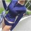 SM-V1-516 ชุดว่ายน้ำแขนยาว สีน้ำเงินซิปหน้า+กางเกงบิกินี่ thumbnail 1