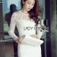 Lady Nana Sweet Classic Body Con Lace and Tulle Dress in White L218-79C03 thumbnail 4