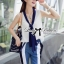DS-PP-046 Lady Jaime Sleeveless Bow Top and Skinny Striped Pants Set thumbnail 7