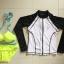 SM-V1-657 ชุดว่ายน้ำบิกินี่ทูพีชสีเขียวสะท้อนแสง+เสื้อแขนยาวสีขาวดำ เซ็ต 3 ชิ้น (ทูพีช+เสื้อคลุมซิปหน้า) thumbnail 2
