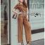 Lady Lyla Modern Minimal Chic Lacy Camel Jumpsuit L258-7905 thumbnail 2