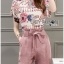 Lady Jennifer Floral Printed Top and Pink Ribbon Pants Set L260-7906 thumbnail 8