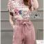 Lady Jennifer Floral Printed Top and Pink Ribbon Pants Set L260-7906 thumbnail 8