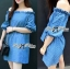 DR-LR-231 Lady Adele Off-shoulder Denim Ribbon Dress thumbnail 8