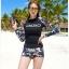 SM-V1-667 ชุดว่ายน้ำแขนยาว โทนสีดำ ลายสวย Love_XOXO thumbnail 6