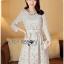 Lady Aliza Classic Vintage Plain Lace Dress with Belt L273-7909 thumbnail 16